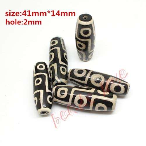 Pukido Hot!!! 40mmx15mm Prayer Mala Black Tibetan Mystical Onyx Dzi 9 Eyes Beads 2pcs/lot (w03452)