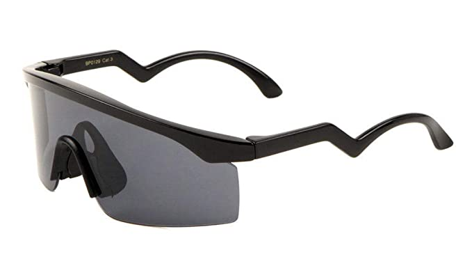 08bceed3940 Daytona Semi Rimless Wrap Around Shield Polarized Sunglasses (Black Frame