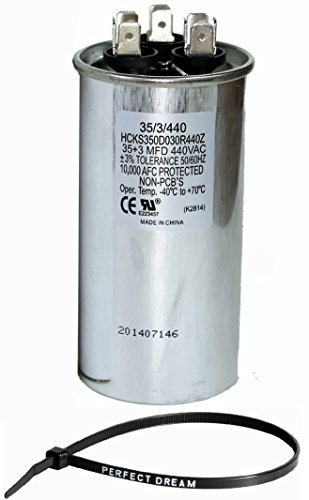PowerWell 35+3 MFD uf micro farad 370 or 440 Volt Dual Run Round Capacitor Bundle PW-CAP-35/3/370-440R for Condenser Straight Cool or Heat Pump Air Conditioner (Capacitor 440v)