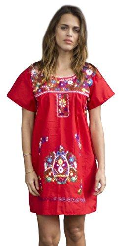 Liliana Cruz Embroidered Mexican Peasant Half Mini Short Dress Tunic (Red Size 3X)