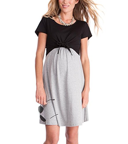 YUNAR Ladies Front Tie Short Sleeve Nursing Maternity Dress (Black-Grey, M)