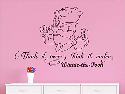 Amzcat Wall Art Stickers Quotes and Sayings Wall Decals Quotes Winnie The Pooh Think It Over Think for Nursery Kids Room ()