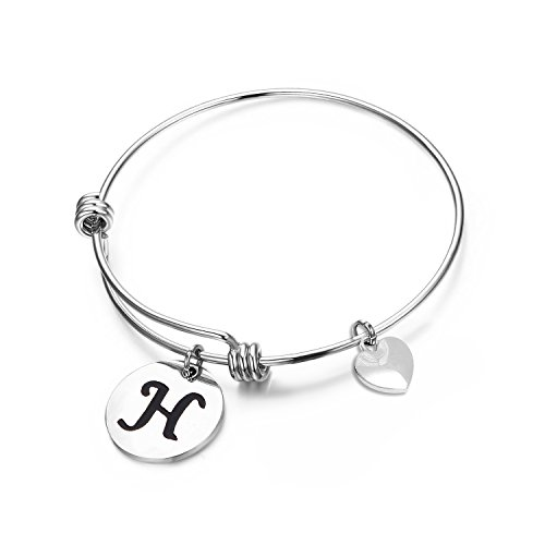 MAOFAED Initial Bracelet Letter Bracelet Personalized Jewelry Hand Stamped Jewelry(H-2)