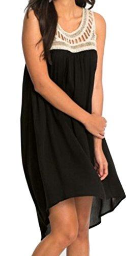 Plage Mousseline De Soie Femmes Domple Garniture Dentelle Sans Manches D'été Plissée Mini-robe Noire