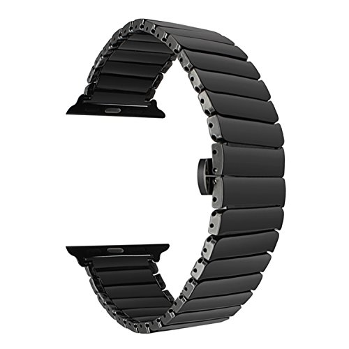 TRUMiRR for Apple Watch Band, Full Ceramic Watchband for iWatch Apple Watch 42mm 44mm Series 1 2 3 4 Replacement Band Wrist Strap Bracelet + Upgraded Adapters (No More Screws), ()