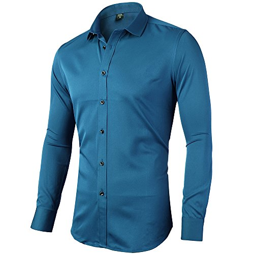 INFLATION Mens Bamboo Fiber Dress Shirts Slim Fit Solid Long Sleeve Casual Button Down Shirts, Elastic Formal Shirts For Men,blue, 17″Neck 35.5″Sleeve, tag 43