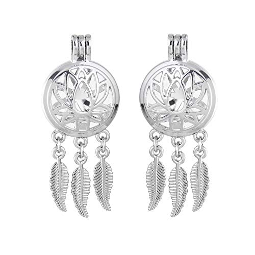 2X Silver Tone Lotus Flower Dream Catcher Pearl Cage Locket Pendant DIY Necklace
