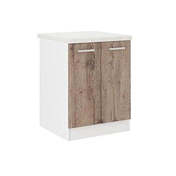 ultra meuble bas de cuisine 60 cm avec plan de travail inclus dcor chene fonc - Meuble De Cuisine Bas Avec Plan De Travail