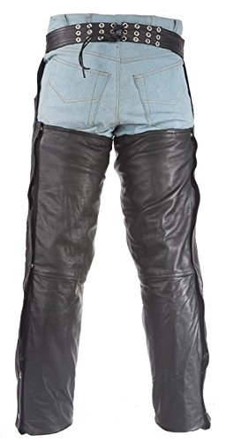 Top Grade Gathered Leather Chaps with Zipper 7XL