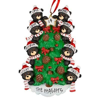 d88b53f1d0d Black Bear Tree Family of 8 Personalized Ornament - (Unique Christmas Tree  Ornament - Classic