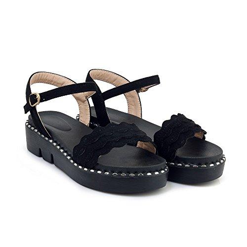 Mujer Peep Sandalias Black Toe Planas amp;s La Informal Mei del Talón pETwn6q