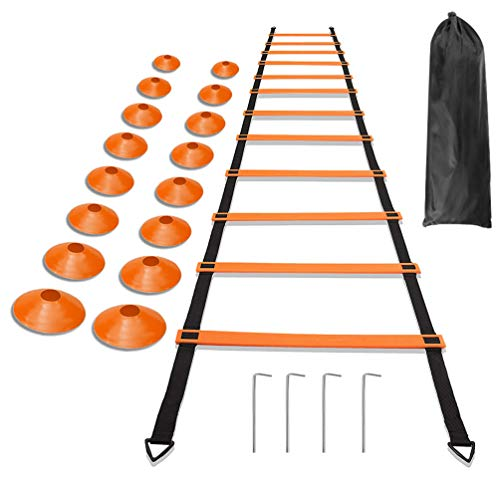 RUNACC Agility Ladder Adjustable Speed Training Ladders Portable Exercise Ladder with Storage Bag, 12 Rungs, 4 Metal Stakes and 16 Plastic Disc Cones, 236.2in in Length ()