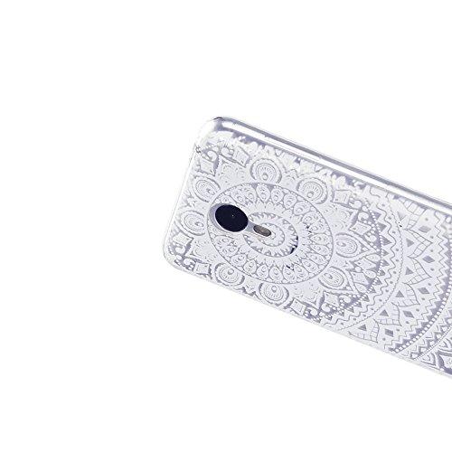 Funda Meizu M3 Note, CaseLover Carcasa para Meizu Blue Charm Note 3 Silicona Transparente Suave TPU Protectora Caso Ultra Delgado Flexible Gel Goma Espalda Parachoques Trasera Cubierta Anti Choque Tap Mandala blanco