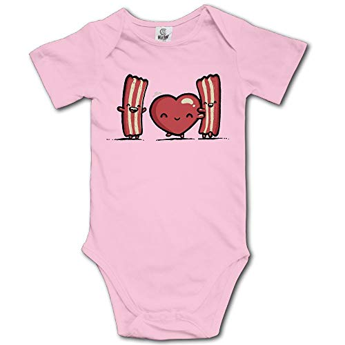 Ghhpws I Love Bacon Baby's Unisex Short Sleeve Comfortable Bodysuit Outfits Pink Size 18 Months ()