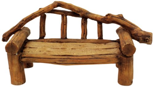 Top Collection Enchanted Story Fairy Garden Faux Wood Bench ()
