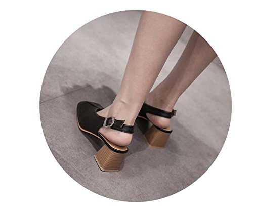 strap color shoes dress toe sandals 5cm mid casual court ankle pump buckle 5 chunkly square women 35 size belt slingback heel simple shoes Beige shoes pure OL eu heel 40 PTwvHqvxA