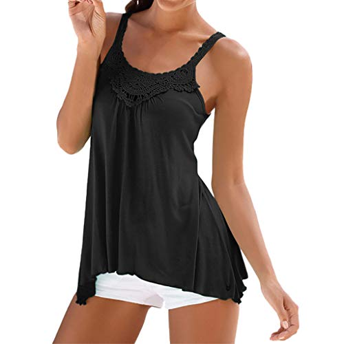 - Sunhusing Ladies Lace Stitching Sleeveless Camisole Vest Summer Casual Tank Tops Shirt Black