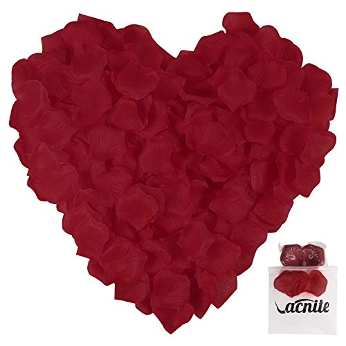 VACNITE Dark Red Fake Rose Petals for Romantic Night, Wedding, Decoration, 1200 Pcs Non-Woven Artificial Rose Petals - Large Size 2.4 '' x 2.4 '', Easy to Separate and No Smell