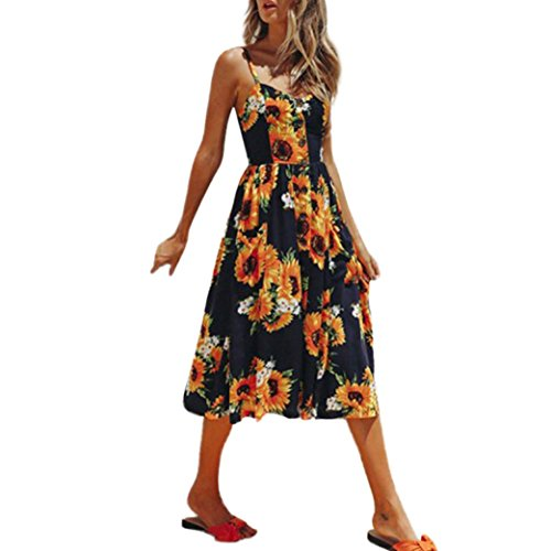 Price comparison product image Elogoog Women's V Neck Sleeveless Long Maxi Boho Floral Print Spaghetti Strap Casual Beach Dress (Orange, L)