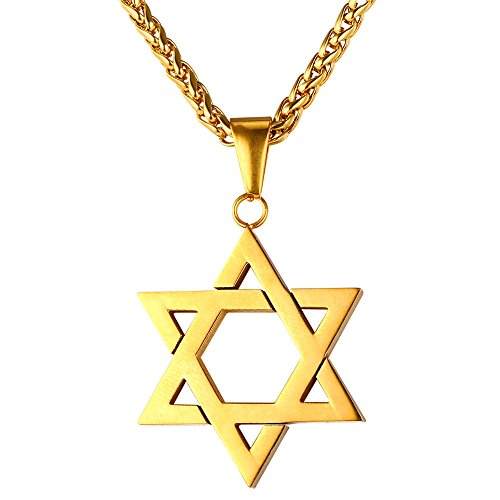 18k Star Necklace (U7 Jewish Jewelry Magen Star of David Pendant Necklace Women Men Chain 18K Gold Plated Israel Necklace)