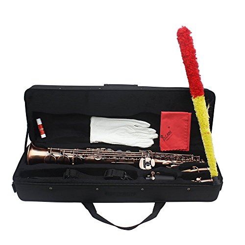 ammoon LADE Straight Bb Soprano Saxophone Sax Woodwind Instrument Abalone Shell Key Carve Pattern with Case Gloves Cleaning Cloth Straps Brush,Red Bronze,WSS-899 by ammoon (Image #7)