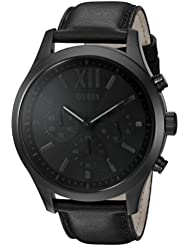 GUESS Mens Stainless Steel Leather Watch, Color: Black (Model: U0789G4)