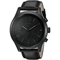 GUESS Men's Stainless Steel Leather Watch, Color: Black (Model: U0789G4)