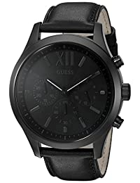 GUESS Men's U0789G4 Dressy Stainless Steel Multi-Function Watch with Chronograph Dial and Genuine Leather Strap Buckle