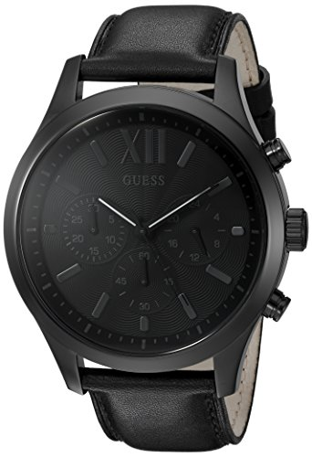 [GUESS Men's U0789G4 Dressy Stainless Steel Multi-Function Watch with Chronograph Dial and Genuine Leather Strap Buckle] (Leather Genuine Chronograph)