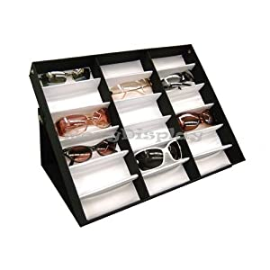 18Pcs Sunglasses Eyewears Watches And Jewelry Display Case For Retail Black Showcase