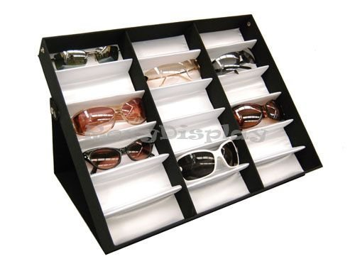 18Pcs Sunglasses Eyewears Watches And Jewelry Display Case For Retail Black - Sunglasses Trays Display