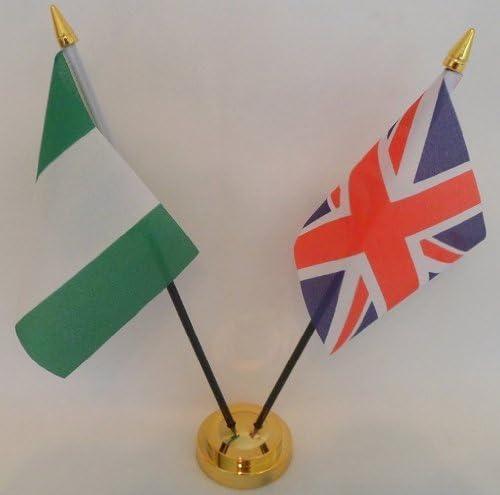 Nigeria bandera de Nigeria 2 bandera amistad banderas de la bandera de sobremesa mesa centro con oro base ideal para fiestas conferencias oficina pantalla: Amazon.es: Hogar