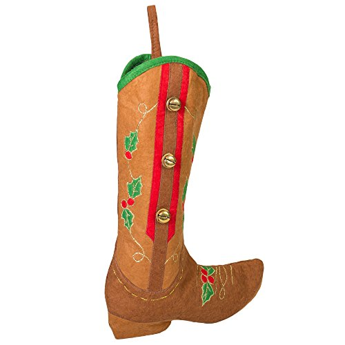 18.5 inch Brown Western Boot with Jingle Bells Fabric Christmas Stocking - Western Christmas Stockings