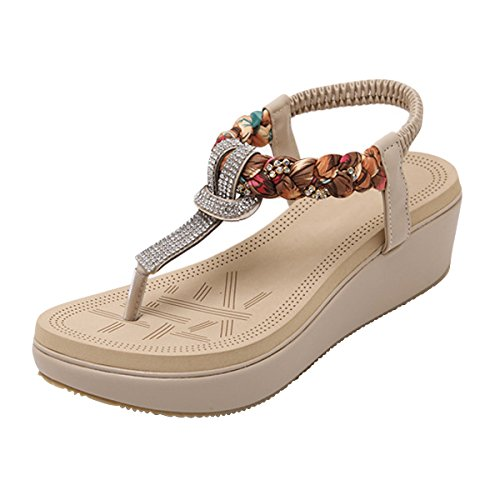 LUXINYU Women's Bohemian Platform Sandals Rhinestone Bead Wedge Shoes Thong Sandal Apricot US 9 (Thong Platform Shoes)