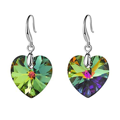 Swarovski Crystal Heart Dangle Hook Earrings for Women Girls 14K Gold Plated Hypoallergenic Jewelry (Rainbow)