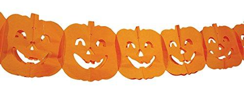 Boland BV Boland 74564-Halloween Pumpkin Paper Garland Bunting 4 M, Orange -