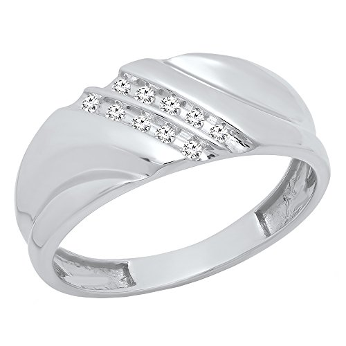 Dazzlingrock Collection 1/8 CT Sterling Silver Round White Diamond Channel Set Men's Wedding Anniversary Band, Size 10 ()