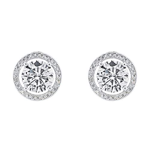 Silver Stud Over Gold (Cate & Chloe Ariel 18k White Gold Plated Halo CZ Stud Earrings, Silver Simulated Diamond Earrings, Round Cut Earring Studs, Best Gift Ideas for Women, Girls, Ladies, Special-Occasion Jewelry)
