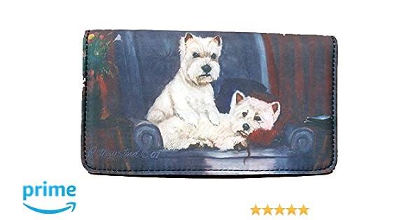 West Highland White Terrier Wallet Westie Dog Checkbook Coin Purse Zipper Black