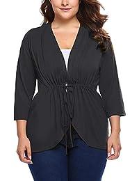 Women's Plus Size Lightweight 3/4 Sleeve Open Front Short Knit Cardigan Sweater