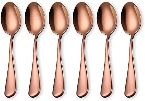 Noble Rose Gold Coffee Spoon, Stainless Steel Ice Cream Spoon, Mini Small TeaSpoons, Set of 6 Pieces (Rose Gold-Coffee Scoops)