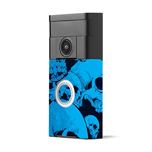 MightySkins Skin for Ring Video Doorbell - Blue Skulls | Protective, Durable, and Unique Vinyl Decal wrap Cover | Easy to Apply, Remove, and Change Styles | Made in The USA