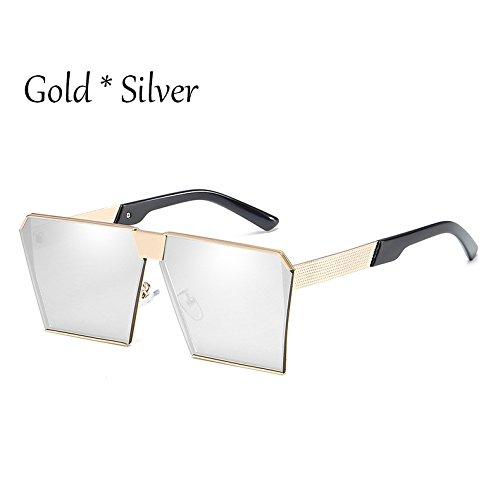 Silver G C12 C2 TIANLIANG04 Uv356 De Silver Enormes Mujer Sol Unas Gafas Damas Tonos 17 Gold Cuadradas De Sol Hombre Vintage Gafas Silver Estilos qxaUWwqRr1