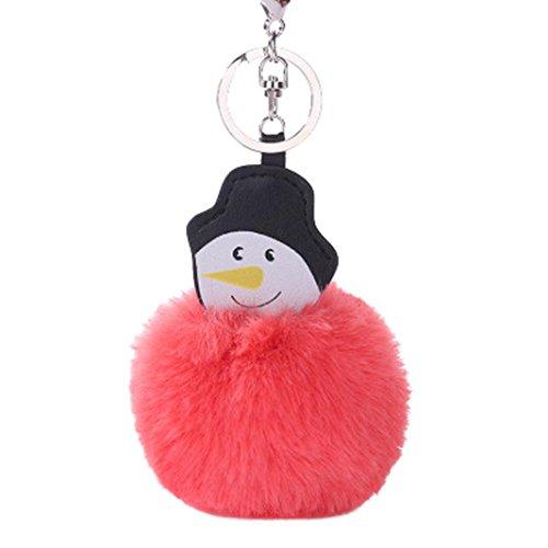 SGI(TM) 15CM Christmas Snowman Keychain Pendant Women Key Ring Holder Pompoms Key Chains (Red, One)