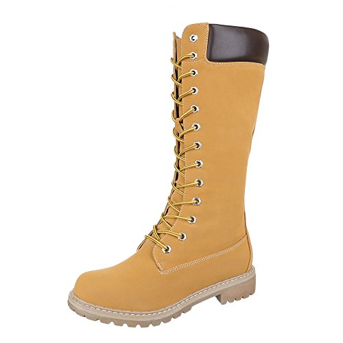 Ital-Design Schnürstiefel Damenschuhe Schnürstiefel Blockabsatz Warm Gefütterte Reißverschluss Stiefel Camel KA16-101S