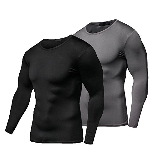 FITIBEST Quick Dry Compression Baselayer Long Sleeves T-Shirt Sports Exercise Clothes Ultra Thin Running Fitness for Men Pack of 2 Pcs (M, Black+ Grey) (Compression Sleeve Long Tee Fatigue)