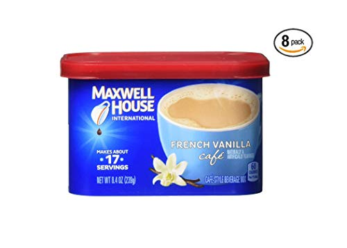 Maxwell House International French Vanilla Cafe Instant Coffee, 8.4 oz Canister (Pack of 8)