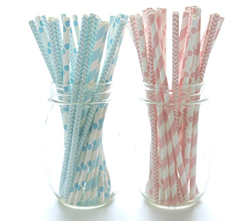 Baby Shower Straws (50 Pack) - Boy Girl Gender Baby Shower Party Supplies, Pink & Blue Paper Straws, Unisex Baby Showers