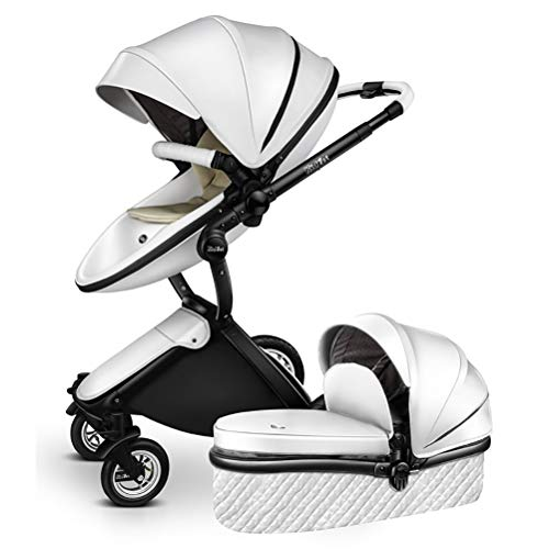 ANYWN Baby Stroller 2 in 1 High Landscape Pram Foldable Pushchair, Sleeping Stroller, Foldable Pram Carriage with 5-Point Harness,White+sleepingbasket