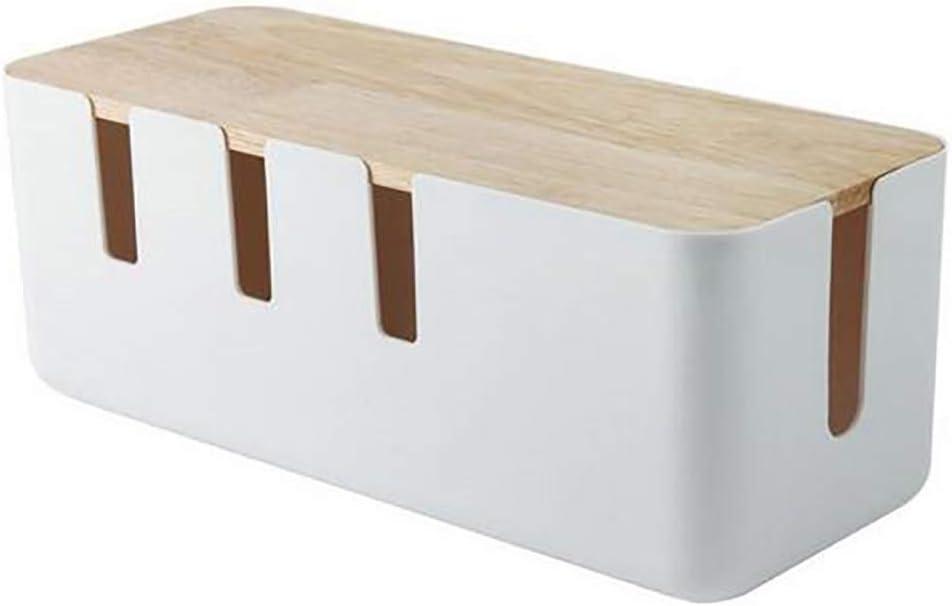 3,58x7,0 pulgadas caja de almacenamiento rectangular de enchufe organizador de enchufe de alimentaci/ón accesorios de estaci/ón de carga HELEVIA Caja de gesti/ón de cables de madera